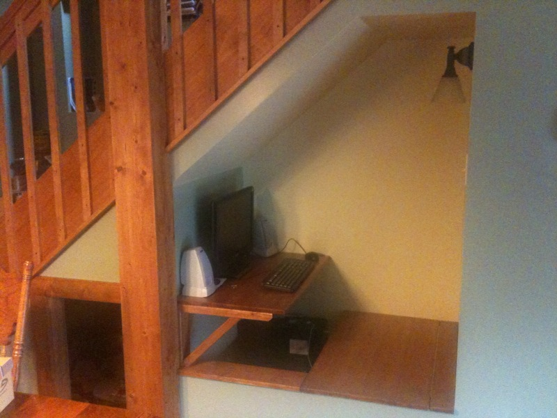 Desk Under Stairs computer under the stairs | embiggen