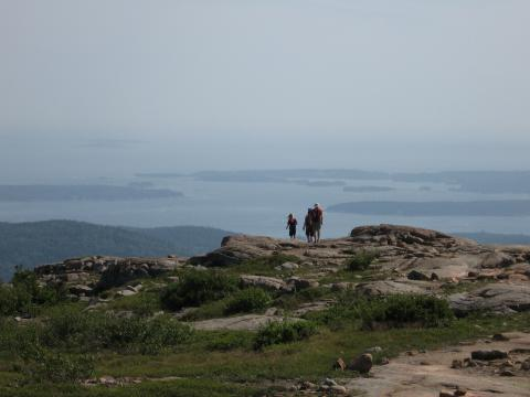 Sean, Alec, and Jay on the way back down with Frenchman Bay in the distance