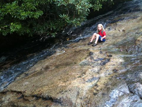 Alec at the natural water slide.